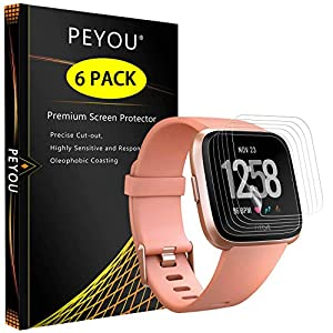 PEYOU 6 Stück Schutzfolie für Fitbit Versa, Vollständige Abdeckung [Wet Applied] [Anti-Kratz] [Blasenfrei] HD PBA Weich Folie Screen Protector