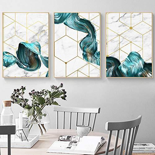 xwlljkcz 3 Stück Nordic Geometrische Wandkunst Leinwand Malerei Abstrakte Blaue Stoff Poster Drucken Modernen Minimalistischen Bild für Wohnzimmer Wohnkultur Kein Rahmen -