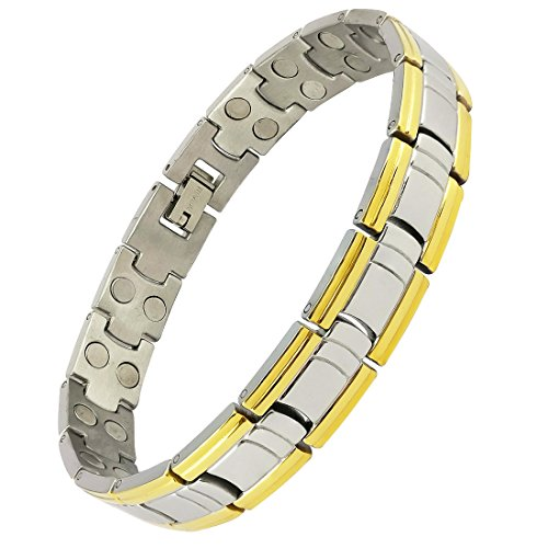Magnaz Yellow Golden, Silver Titanium Plated Bio Magnetic Therapy Bracelet for men and women  available at amazon for Rs.1115
