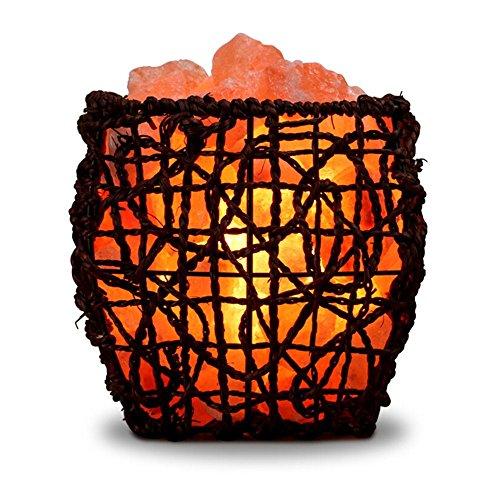 ZOE Tischlampe Kreative Kristall Salz Lampe Warmes Licht Rattan Linie Schmuck Eisen Nacht Lampe Schlafzimmer Lampe Dekoration Luftreinigung Geschenk E14 (005-lampe-kits)