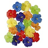 NET TOYS Farbenfrohes Set Hibiskus-Blüten | Bunte Kombi mit 18 Stück | Traumhafte Party-Dekoration Kunst-Blumen | Wie geschaffen für Sommerfest & Hawaii-Party