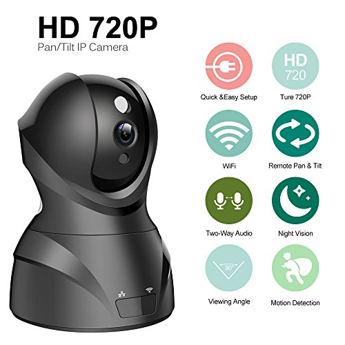 Wireless IP Camera 720P HD H 264 CCTV Security Camera Baby Monitor with  IR-Cut Night Vision Two-ways Audio Talk Pan&Tilt Motion Detection (720P  Wify