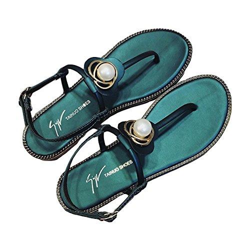 Zapatos de playa zapatos de Roma palabra hebilla sandalias mujer green 38