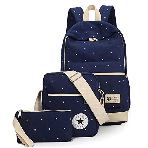 School Bag Set Canvas Backpack Handbag Lunch Shoulder Bags Pencil Cases Casual Daypack 3PCS Backpacks Rucksacks School Bags For Girls Womens Backpack For Teen Vintage Rucksack - Deep Blue