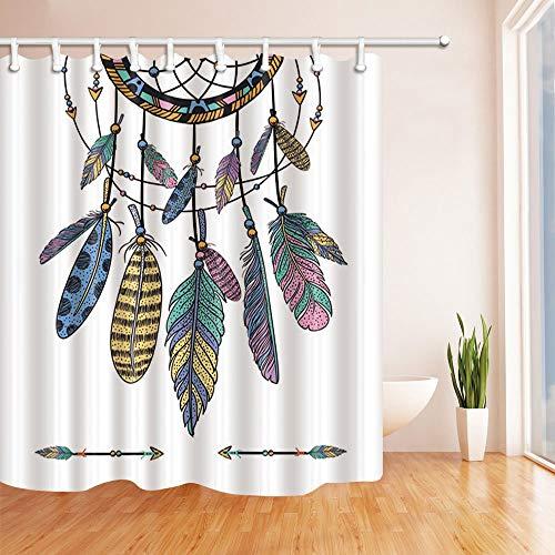 Nyngei Decoración nativa Americana Colorido Atrapasueños étnicos con Plumas Cortina de Ducha Tejido de poliéster Baño Impermeable 180X180CM Azul