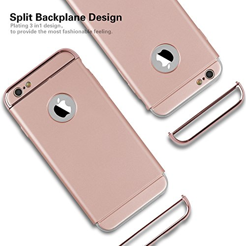 iPhone 6s Case,3 in 1 Electroplate Frame and Ultra Thin Design Coated Premium Non Slip Surface with Excellent Grip Case Fit for iPhone 6 and iPhone 6S (4.7'') -- Red Rose Gold