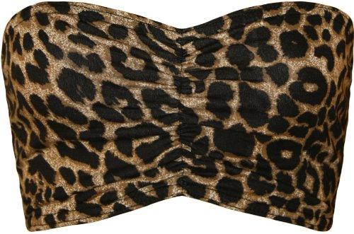 WearAll - Damen Bedruckt Trägerlos Crop Bandeau Top - 7 Mustern - Größe 36-42 Leopard