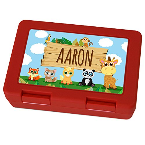 Brotdose mit Namen Aaron - Motiv Zoo, Lunchbox mit Namen, Brotdose Rot - Frühstücksdose Kunststoff lebensmittelecht