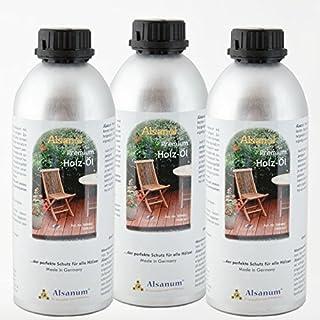 3er Set Alsanol Premium Holz-Öl (3 x 1000 ml) in der Alu-Flasche