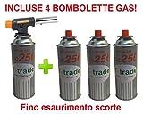 CANNELLO MINI BRUCIATORE TORCIA SALDATORE GAS FIAMMA OSSIDRICA + 4 CARTUCCE A GAS DA 250 GR INCLUSA