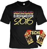 Deutschland Fussball Fanshirt T-Shirt zur EM 2016 für Männer und Frauen inkl. Fanschal Deutschland Europameister 2016