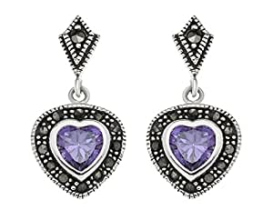 Ornami B91/MSE-015 Ladies' Silver with Amethyst Heart Earrings