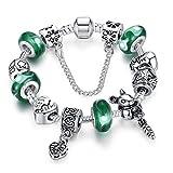 Carina Sterling Silver Green Murano Glass Charm Pandora Bracelet for Women Girls