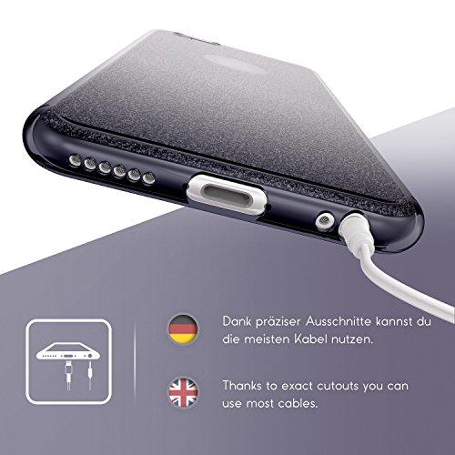 Original Urcover® Apple iPhone 6 Plus / 6s Plus Hülle Soft Rainbow Glitzer Series Handyhülle [BLAU] TPU Cover Case Etui Schutzhülle für TOP Handyschutz Grau