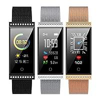 AxssjS Fashion Couple Heart Rate Sleep Monitor Message Push Sport Low Consumption Waterproof Smart Watch Bracelet Silver