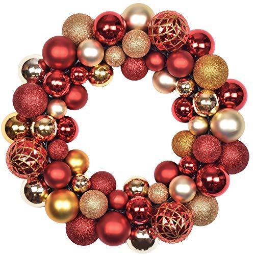 Valery Madelyn 35cm Druchmesser Weihnachtskranz Kunststoff aus 50 Weihnachtskugeln Kranz Luxus Rot und Gold Christbaumkugeln Weihnachtsdeko Türkranz Deko-Kranz Weihnachten