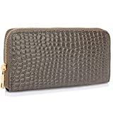 Ladies Purse With Zip Around Animal Crocodile Pattern Patent Large Size With Coin Card Slots Designer Card Holder Wallet, Grey