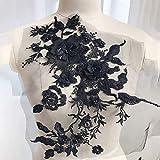 Yzki 3D Broderie Perles Dentelle Applique Floral Strass Tulle Coupures Tissu pour DIY Décolleté Mariage Robe de Mariée Vêtements Broderie, Noir, Taille Unique