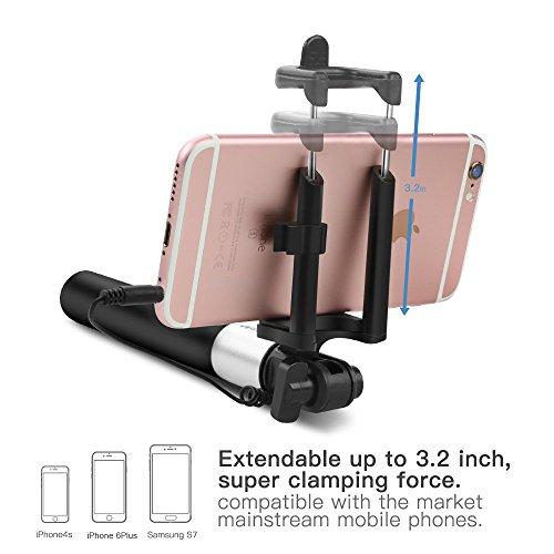 Selfie Stick,Coolreall Selfie Stangen Ausfahrbar Kabelgebunden Stab für iPhone 6s 6 Plus SE 5S 5C 5,Samsung Galaxy,Android und andere Smartphones (Schwarz) - 2