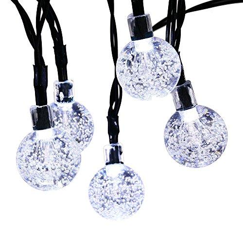 lederTEK, Solar Lichterkette 6m 30 LED Kugel Außenlichterkette Wasserdicht mit Lichtsensor Weihnachtsbeleuchtung, Beleuchtung für Haushalt, Außen, Party, Hochzeit, Weihnachten (weiß) (Weiße Kugel)