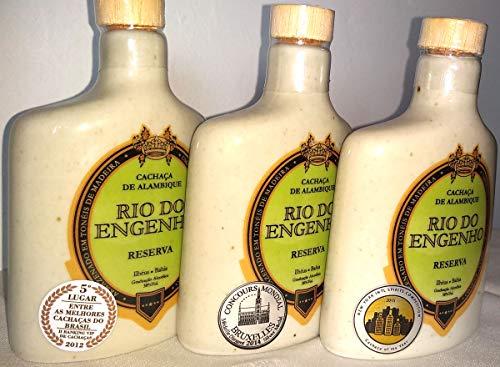Brasilianische Cachaça Rio Do Engenho - 3 Flaschen Porzellan mit je 140 ml - Gewinner von 3 internationalen Preisen - Internationalen Porzellan