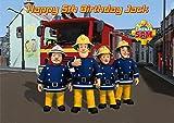 Feuerwehrmann Sam, personalisierbare Kuchen-Dekoration, auf essbarem Zuckerpapier, A4-Format