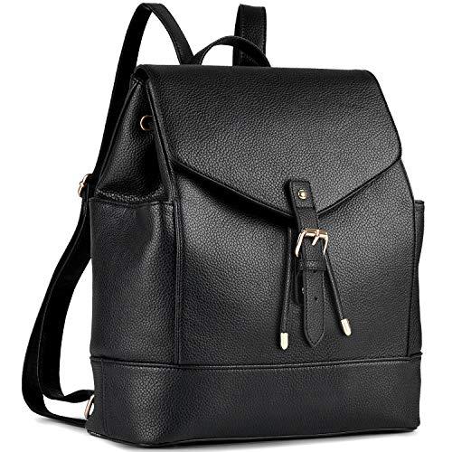 Damen Rucksack, Coofit Leder Rucksack Elegant Rucksack Damen PU Rucksack für Mädchen Schwarz Rucksack Frauen Rucksack Daypack Backpack