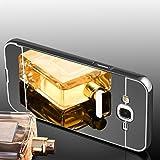 Samsung Galaxy J3 2016 Hülle, Handyhülle [Metall Bumper Alu Case 2 in 1] Schutzhülle für Samsung Galaxy J3 2016 Back Cover Rückschale [Dunkelgrau]