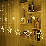 LED Star Curtain Lights, Ulinek Low Voltage 2M/6.6ft Waterproof Fairy String Lights, Decorative Christmas Lamp Strips for Wedding Christmas Party Holiday Restaurant Hotel Indoor Outdoor Decorations lighting String With 12 Stars 138 Leds 8 Flash Modes (Warm White)