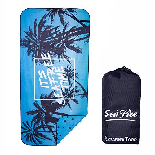 Sea Free Microfaser Badetuch Strandhandtuch, Doppelseitig Bedrucken Sporthandtuch, Schnelltrocknend Ultraleicht Handtuch Matte für Reisen Trekking Fitness Sauna mit Tasche (Baum, 180 * 90cm)