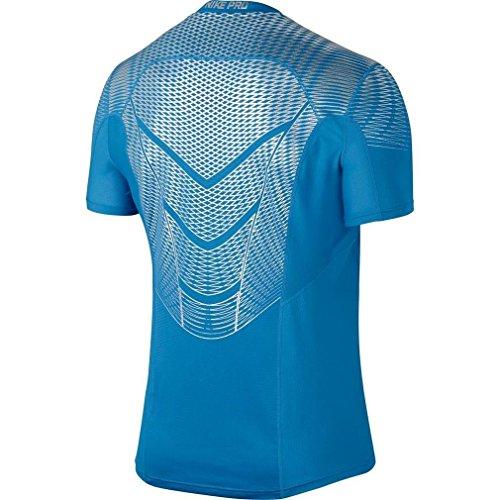 NIKE Herren Kurzarm T-shirt Pro Hypercool Max Fitted, 744281 Azul / Plateado
