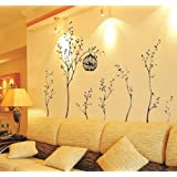 Walplus Wall Stickers Huge Birdcage Trees Removable Self-Adhesive Mural Art Decals Vinyl Home Decoration DIY Living Bedroom Décor Wallpaper Kids Room Gift, Multi-colour