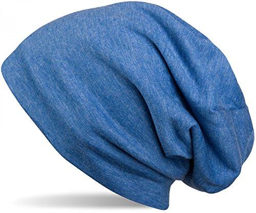 styleBREAKER Klassische Unisex Beanie Mütze mit inliegendem Fleece Stoff, gefüttert 04024008, Farbe:Blau meliert -