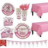 Qintaiourty 127 Stück Baby Jungen Mädchen Party Supplies Set Partygeschirr Set inkl. Pappteller, Pappbecher, Tischservietten, Tischdecke und Banner, Messer, Löffel, Gabel für 16 Gäste rose