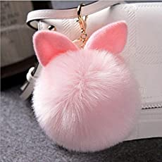 Everperfect Plush Bunny Ear Pompom Keychain (Pink)