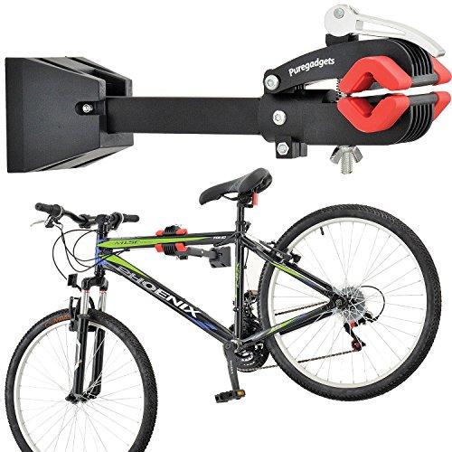 Puregadgets© - Supporto pieghevole da parete per bicicletta e mountain bike, per tenerla in posizione orizzontale, per manutenzione e riparazioni meccaniche, resistente, con leva e morsetto a sgancio rapido, perfetto da collocare nel proprio garage o appartamento