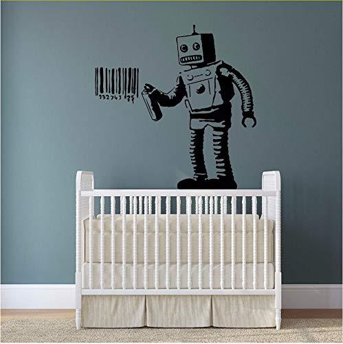 Ljtao Banksy Vinyl Wandtattoo Roboter Graffiti Wandaufkleber Maschine Malerei Barcode Wall Poster Straße Wandtattoo Decoration57X58Cm