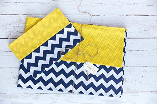 KraftKids Bettwäscheset weiße Punkte auf Gelb / Chevron dunkelblau 100 x 135 cm, Kissen 40 x 60 - Chevron Baby-bettwäsche-sets