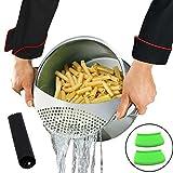 Mejor utensilios de cocina (acero inoxidable, colador para pasta de espaguetis verduras colador y escurridor de drenaje Colador fácil con Bono pelador de ajos y silicona HOT mango soporte