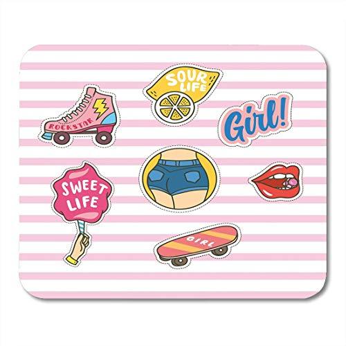 Mauspads Gekritzel-Mädchen von netten Flecken auf rosa Streifen-Ausweis-Skateboard-Mausunterlage für Notizbücher, Tischrechner-Mausunterlagen