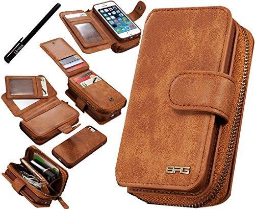Multifunktions-Hülle von Urvoix™ mit Geldbeutel für iPhone SE, 5S, 5, aus Premium-Leder, mit abnehmbarer magnetischer Schutzhülle, mit Kartenhalter