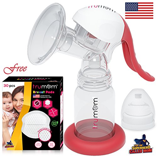 TRUMOM (USA) Manual comfort baby breastmilk breast pump ( Breastfeeding milk ) and TRUMOM breast pads (30 Pcs) FREE !!! Compare us with philips avent manual breastfeeding pump  available at amazon for Rs.1299