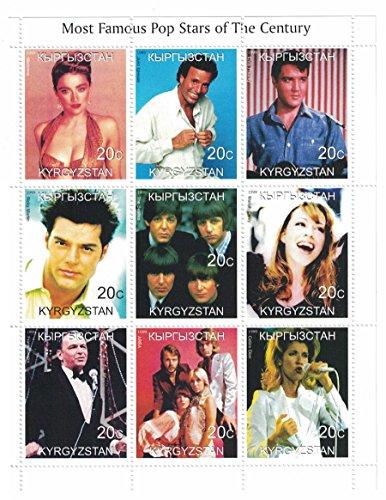 Briefmarken für Sammler–perforiert Stempel Blatt mit berühmten Pop Stars/Madonna/Elvis Presley/THE BEATLES/Frank/Kirgisistan