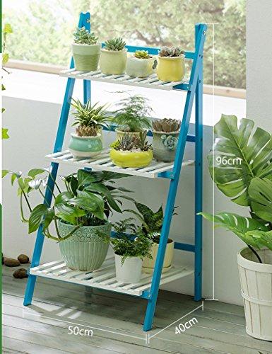 Bambou Bleu Fleur Plante Pot Présentoir Plante Fleur Pot Stands Plié Intérieur Extérieur Simple Style ( taille : 50*40*96CM )