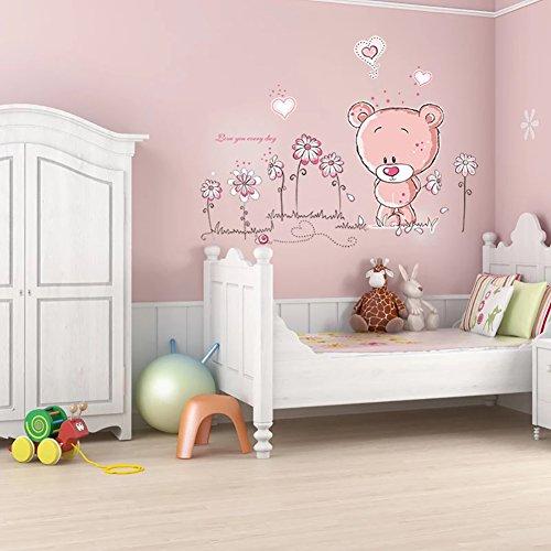 Babyzimmer einrichten: WandSticker4U- Wandtattoo BABY BÄR in rosa