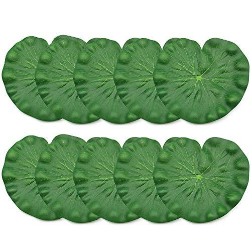 PEAK-EU 10 Pcs Floating Lotusblatt Künstliche Teichpflanze Aquarium Pflanze für Garten Fischteich Teich Dekoration