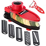 TENTA Kitchen Mandoline Vegetable Slicer Grater Cutter Chopper, 6 in 1 Interchangeable Blades with Peeler with Food Catch Tray, Hand Protector,Food Storage Container