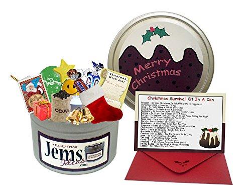 Kit di sopravvivenza natalizio spiritoso in barattolo di latta,  regalo e biglietto divertente in lingua inglese 'Keep Calm at Xmas',  per un capo/manager/amico/collega di lavoro,  25 Dicembre, regali e biglietti di Buon Natale con pu