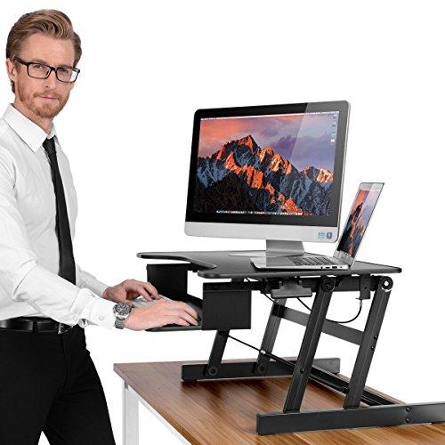 Metall-workstation (ERGONEER Gesunde Sit-Stand Workstation Desktop Computer | Höhenverstellbare Stehpult | Heben und Senken Table Top in verschiedene Positionen für Ergonomic Comfort (schwarz))