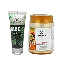 Oxyglow Honey & Papaya Enzyme Scrub Pack With Neem & Tulsi Face Wash